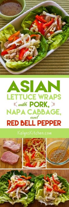 These Asian Lettuce Wraps with Pork, Napa Cabbage, and Red Bell Pepper are low-carb, gluten-free, and South Beach Diet Phase One. I've made these over and over; enjoy! [found on KalynsKitchen.com]: