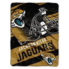 Jacksonville Jaguars Blanket 46x60 Raschel Deep Slant Design Rolled