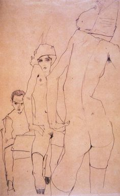 Drawing by Egon Schiele, 1910, Schiele with a nude model standing in front of a mirror, pencil on packing paper.