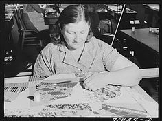 Woodville, California. Quilting in the sewing room Library of Congress