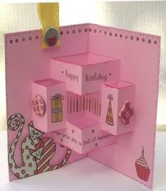 handmade birthday card ... fancy pop-up design ... tutorial on the blog ... mostly pink ... luv it!