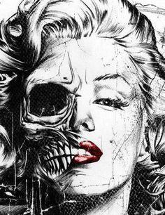 Marilyn Monroe skull art