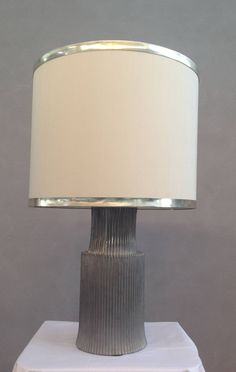 italian u002770 signed pewter table lamp - Modern Table Lamp