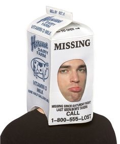 Milk Carton Hood Hat Accessory for Halloween - Pure Costumes ! Fairy Halloween Costumes, Halloween Costume Accessories, Funny Halloween, Halloween Ideas, Halloween Party, Creative Costumes, Cool Costumes, Costume Ideas, Funny Adult Costumes