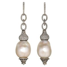 ANUJ Mumbai Drop Earrings in 14k black gold and 14k yellow gold with white baroque pearls and diamond accents (3.59tcw)  (1stdibs.com)