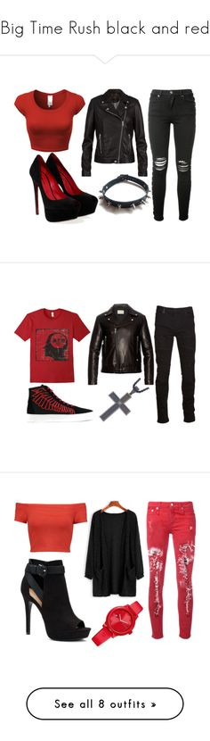 """Big Time Rush black and red"" by ariartist-1513 on Polyvore featuring SET, AMIRI, Cesare Paciotti, WithChic, Gucci, Marcelo Burlon, County Of Milan, men's fashion, menswear and Alice + Olivia"
