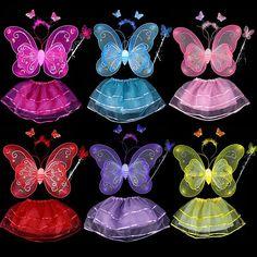 ホット蝶翼杖ヘッドバンドチュチュスカートスカートコスプレ衣装ため妖精女の子子供