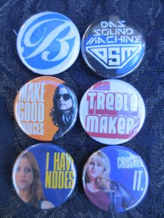 6 Pitch Perfect Fat Amy, Beca, Chloe - 1 inch Pinback Buttons