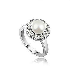 MaDou Princess Women's Elegant Full Of Diamonds Pearl Ring(White) – USD $ 2.99