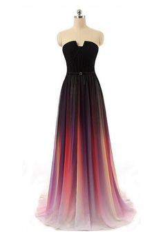 Black Navy Blue Ombre Chiffon Long Prom Dress