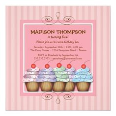 Cupcake Birthday Invitations Sweet Girl Cupcake Birthday Party Invitation