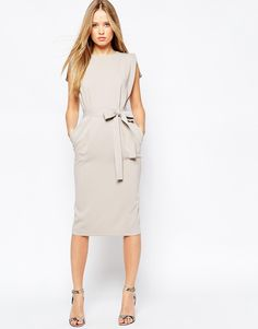 Image 1 of ASOS Belted Dress with Split Cap Sleeve and Pencil Skirt