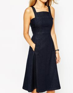 Image 3 of Whistles Amber Apron Dress in Denim