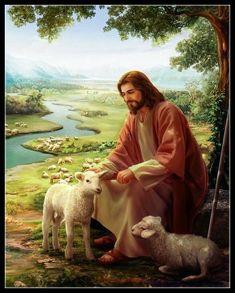 Jesus Christ with Lamb 1 - DIY Chart Counted Cross Stitch Patterns Needlework Pictures Of Jesus Christ, Religious Pictures, Religious Art, Jesus Our Savior, Jesus Is Lord, Image Jesus, Première Communion, Jesus Christus, Jesus Painting