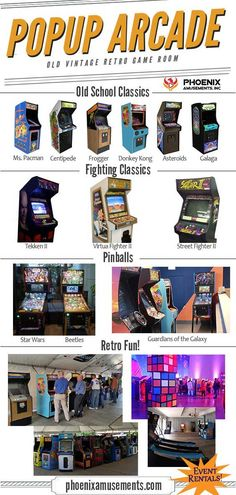 Not a room with Xbox or PlayStation, but a real Arcade Game Room. Step back in time with classic arcades and pinballs! Here's a few we carry in our popup arcade game rentals. Which one is your favorite? Vintage Videos, Vintage Video Games, Vintage Games, Arcade Game Room, Retro Arcade Games, Playstation, Xbox, Pop Up, Bartop Arcade
