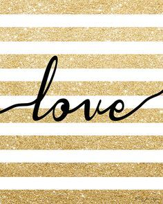 Gold Glitter Love Digital Printable Art by PennyJaneDesign