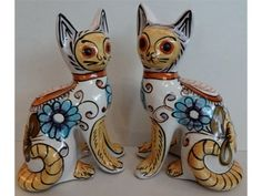 Pair of Modernist Hand Painted Italian Day of the Dead Galle Style Pottery Cats