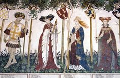Fun hats. Dagged sleeves, and half-set sleeves, and a blingy collar thing, and dagged sleeves lady has a necklace with oak leaf pendants which is gonna be mine. The Nine Worthies fresco at Castello della Manta, c. 1420