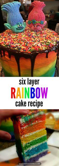 Trolls Cake | Rainbow Cake | Sprinkle Cake | Vanilla Cake | Layered Cake | Rainbow Ombre Cake | Ganache Drip Cake | Dreamworks Trolls | Trolls Theme Party | Rainbow Theme Party