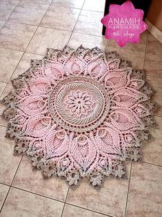 ROUND CROCHET RUG Floral rug knitted rug decorative rug   Etsy Mandala Rug, Doily Rug, Crochet Doilies, Crochet Flowers, Crochet Rug Patterns, Doily Patterns, Crochet Rugs, Crochet Carpet, Crochet Home