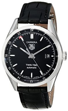 TAG Heuer Mens WV2115FC6180 Carerra Calibre 7 Twin Time Automatic Black Dial Black Crocodile Watch ** You can find out more details at the link of the image.