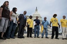 Above are some National Committee volunteers (yellow shirts!) at the event that took place last week protesting the Chained CPI which is a benefit cut to #SocialSecurity. (click through to read more)
