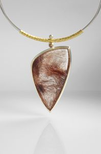 Silver and 24Ct Gold Necklace with Rutilated Quartz and Diamonds by Josef Koppman.