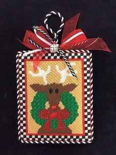 needlepoint reindeer ornament, designer unknown
