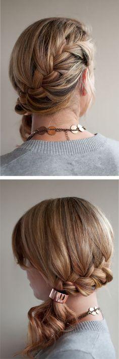 Easy dress up hair / diagonal french braid