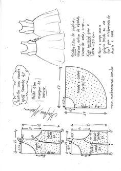 Vestido com recorte princesa godê - - Esther Vitalia Alvarez Montalvo - Pattern Drafting Tutorials, Sewing Patterns Free, Sewing Tutorials, Clothing Patterns, Baby Dress Patterns, Dress Making Patterns, Pattern Making, Sewing Clothes, Diy Clothes