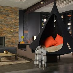 Love this modern style home with indoor cacoon hammocks @ http://hammocktown.com/products/black-cacoon
