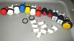12 ARCADE COIN-OP BUTTON & 9 MICRO SWITCH LOT, LIGHTED, ROUND, SQUARE BUTTONS
