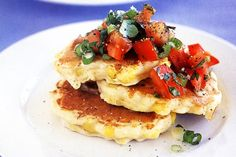 Corn pikelets with tomato salsa :  Ingredients      3/4 cup self-raising flour     1/4 teaspoon cayenne pepper     2 tablespoons finely grated parmesan cheese     1 egg     2/3 cup buttermilk     310g can corn kernels, drained or 1 cob fresh corn     olive oil cooking spray http://fredsfruit.com/2015/06/corn-pikelets-with-tomato-salsa/