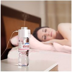 Genius: Compact Humidifier that uses Bottled Water.  A Simple Way to Ease Dry Skin and Lips, too!