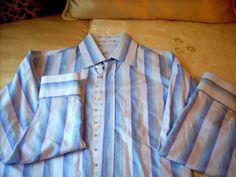 Bugatchi Uomo Shirt Medium lg sleeve button down front blue strip Flip Cuff mens #BugatchiUomo