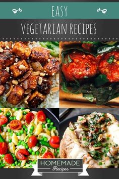 Easy Vegetarian Recipes | https://homemaderecipes.com/26-homemade-vegetarian-recipes/
