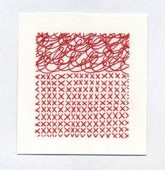 Emily Barletta sewn drawing #red