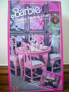 Barbie - Sweet Roses Dining Table & Chairs, My daughter is playing with mine now! Barbie 90s, Barbie World, Barbie And Ken, Barbie Outfits, Barbie Life, Barbie Stuff, Barbie Dream, 1980s Childhood, My Childhood Memories