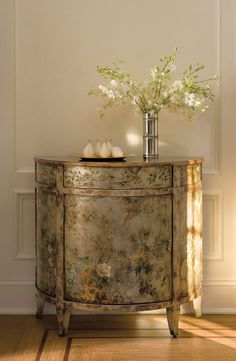 Beautiful Half Round Hand Painted Cabinet With Inviting Home Inspired