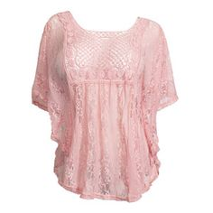eVogues Apparel Plus Size Sheer Crochet Lace Poncho Top Pink - Clothing, Shoes & Jewelry - Clothing - Women's Clothing - Plus Size Clothing - Plus Size Tops