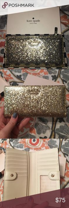 Kate Spade wallet NWB Kate Spade, glitter bug ✨ Stacey wallet. NWB! (No tags) I never got around to using it because it's a tight fit, and I like wallet that zip all the way around 🔃. This is a gorgeous patent leather wallet! kate spade Bags Wallets