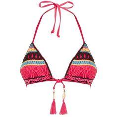 Seafolly Ibiza Escape Triangle Bikini Top ($100) ❤ liked on Polyvore featuring swimwear, bikinis, bikini tops, swim suit tops, tassel bikini, swim tops, tie bikini and swimsuit tops