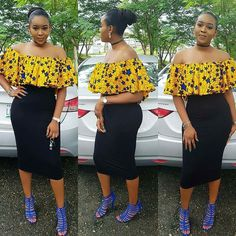 100 Pictures of the Latest Ankara Crop Top Styles in 2017 Ankara Tops, Ankara Crop Top, Off Shoulder Outfit Casual, Off Shoulder Outfits, African Attire, African Wear, African Dress, African Clothes, African Style