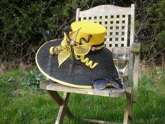 Handmade Hand Sewn Sinamay Big Brimmed Hat Black by ArniesArtwork, £85.00