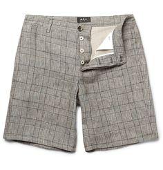 Check Linen-blend shorts