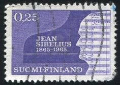 Finland - circa stamp printed by finland, shows silhouette of jean sibelius, circa