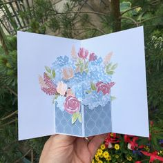 """All Things Stampy: """"Wow"""" card - Beautiful Friendship floral pop-up card Fun Fold Cards, 3d Cards, Paper Cards, Folded Cards, Stampin Up Cards, Pop Up Box Cards, Hand Made Greeting Cards, Greeting Cards Handmade, Pop Up Flower Cards"""