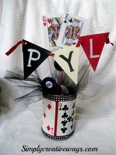 Budget Friendly Casino or Poker Centerpieces Made Out of Recycled Cans.