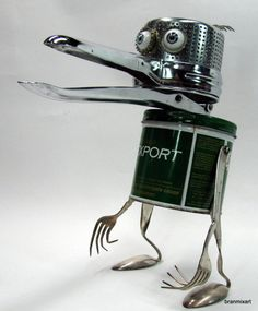 "RECYCLED Reused Upcycled Repurposed  ROBOT  Sculpture - ""waiting for a girl like you""  -  found objects art"