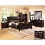 Crown Mark - Tomas 6 Piece Bedroom Upholstered Low Profile California King Bed Set in Espresso - B6275-CK-6SET